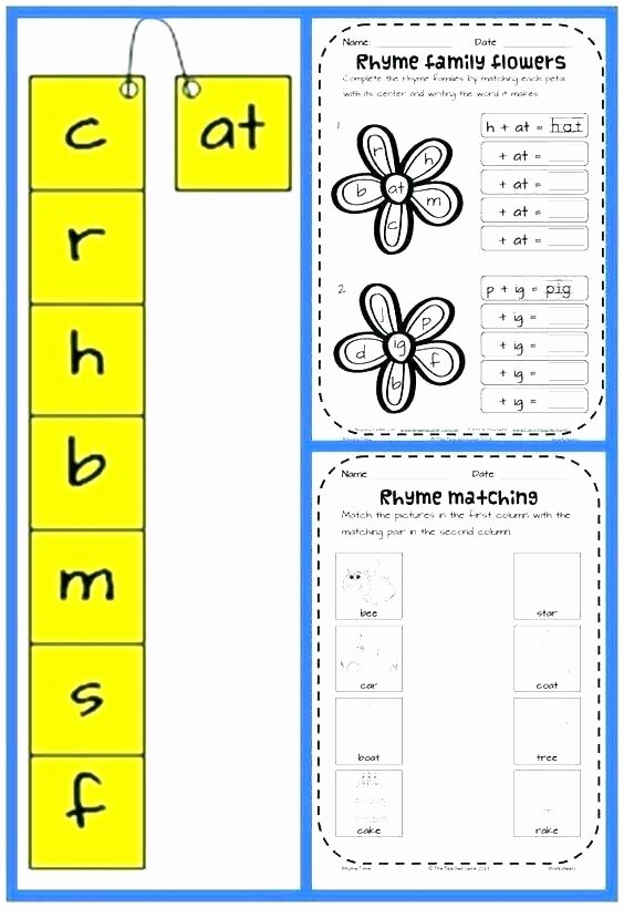 Word Family Worksheet Kindergarten Onset and Rime Worksheets