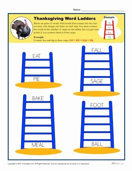 Word Ladder Worksheets Luxury Thanksgiving Activity Worksheets K12