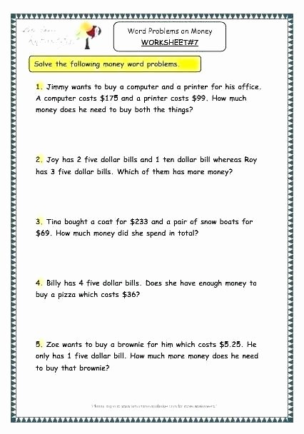 Word Problems Worksheets 1st Grade Algebra Money Word Problems Worksheets