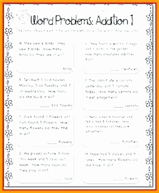 Word Problems Worksheets 1st Grade First Grade Math Word Ms Worksheets to Free Download Grade 7