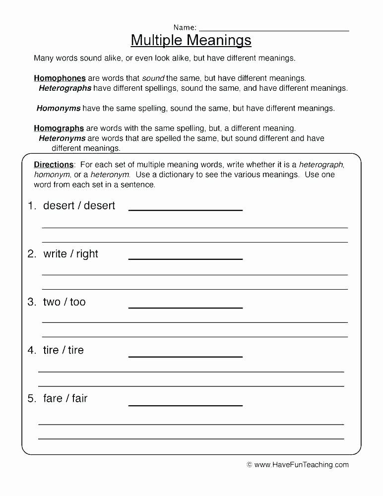 Words with Multiple Meanings Worksheets Dictionary Worksheets 3rd Grade Dictionary Skills Worksheets