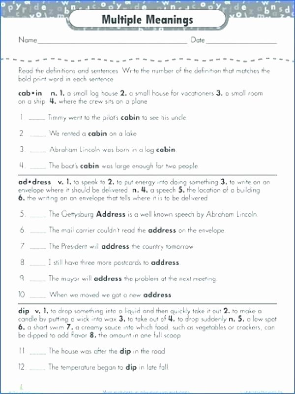 Words with Multiple Meanings Worksheets Multiple Meaning Worksheets for Second Grade