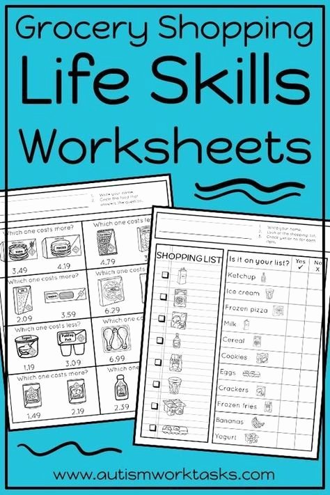Work Skills Worksheets Life Skills Worksheets Grocery Store