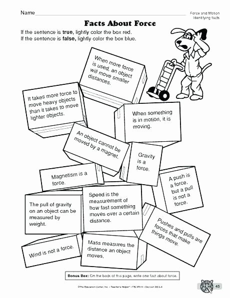 Worksheets On force and Motion force Worksheets for Grade Second Science Worksheet forces 2nd