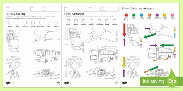 Worksheets On force and Motion forces Colouring Homework Worksheet Worksheet Homework