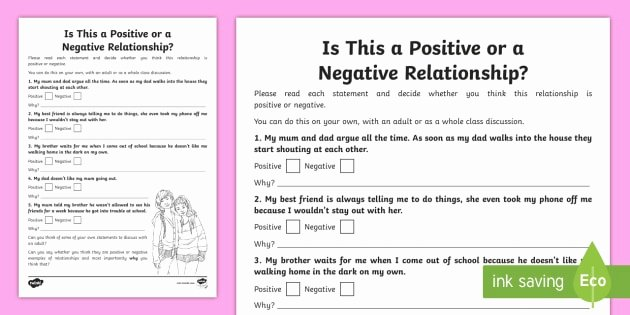 Worksheets On Healthy Relationships is This A Positive or Negative Relationship Worksheet