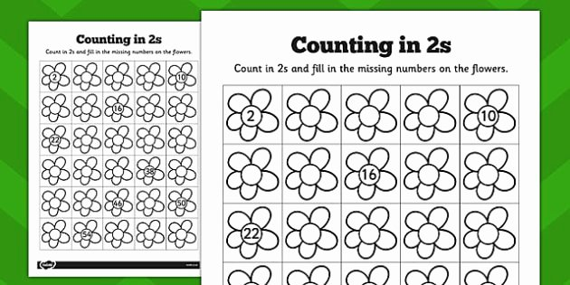 Write the Missing Numbers Worksheet Counting In 2s Flowers Worksheets Counting 2s Flowers Sheet