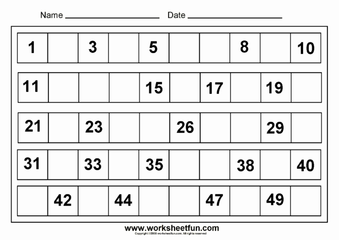Write the Missing Numbers Worksheet Worksheet Ideas Write Missing Numbers 1 50 Ideass Studio