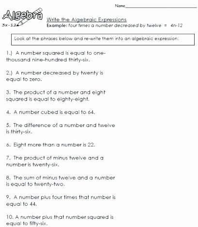 Writing Numerical Expressions Worksheets Algebraic Expressions Worksheets
