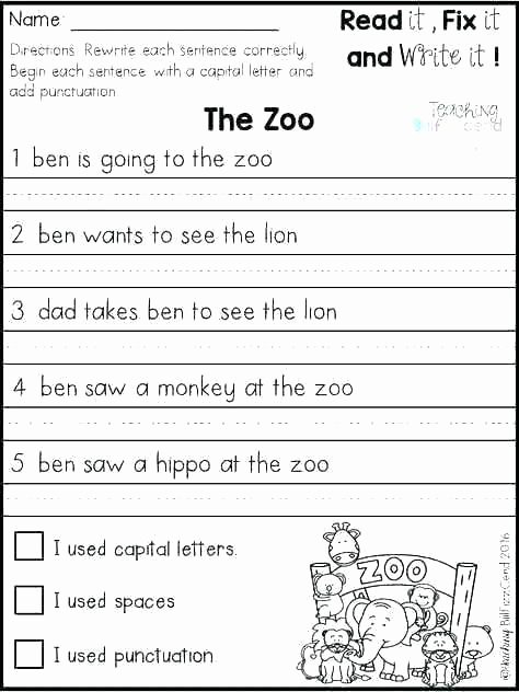 Writing Sentences Worksheet 1st Grade Practice Worksheets