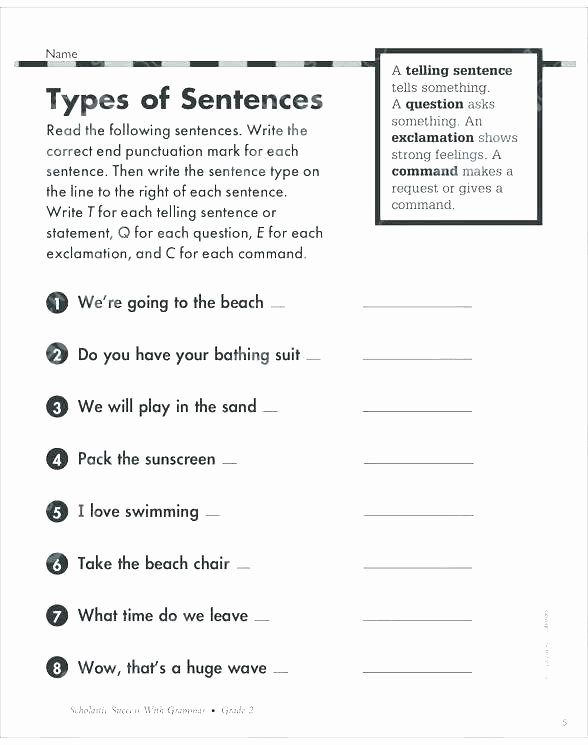 Writing Sentences Worksheets 3rd Grade Types Of Sentences Worksheets 3rd Grade