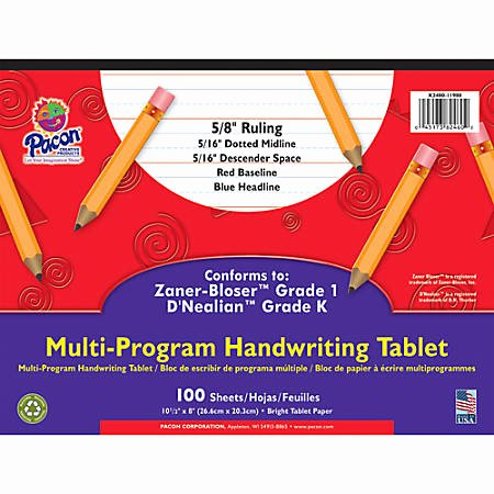"Writing Sheets for 1st Graders Pacon Zaner Bloser 1st Grade D Nealian Kindergarten Handwriting Paper 10 1 2"" X 8"" 100 Sheets Item"