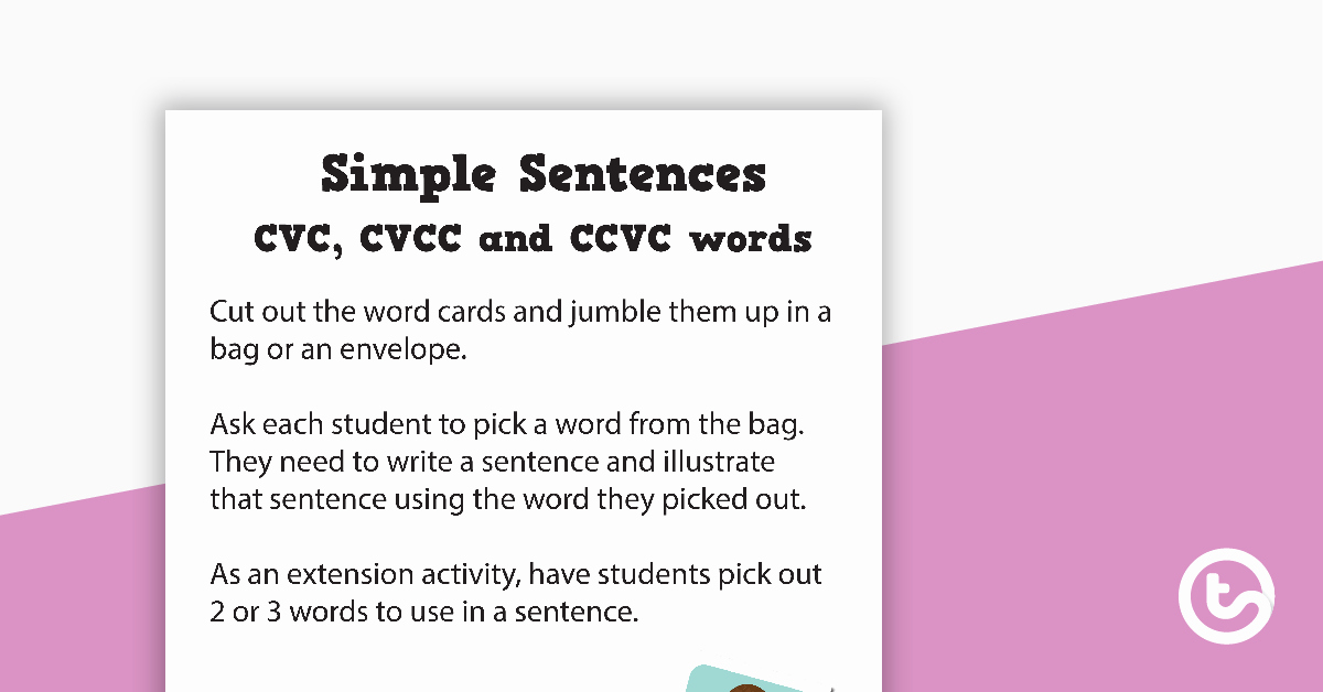 Writing Simple Sentences Worksheets Cvc Ccvc and Cvcc Sentence Worksheet Teaching Resource