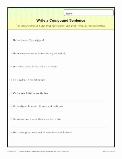 Writing Simple Sentences Worksheets Simple Sentences and Pound Sentences Worksheets