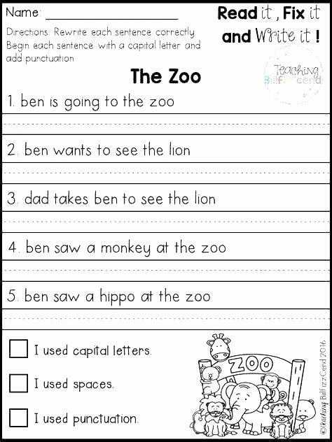Writing Simple Sentences Worksheets Writing Sentence Structure Worksheets