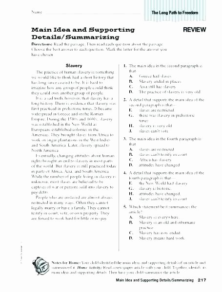 Writing Worksheets 7th Grade Main Idea Worksheets Grade Fifth Free Printable 7th Writing