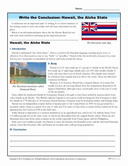 Writing Worksheets for 7th Grade Write the Conclusion Writing Activity Hawaii the Aloha
